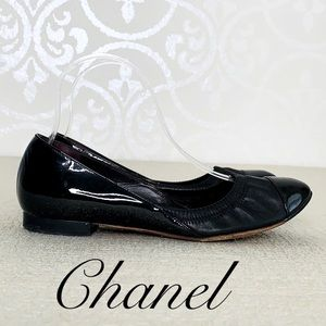 CHANEL BLACK LEATHER AND PATENT BALLET SLIPPERS